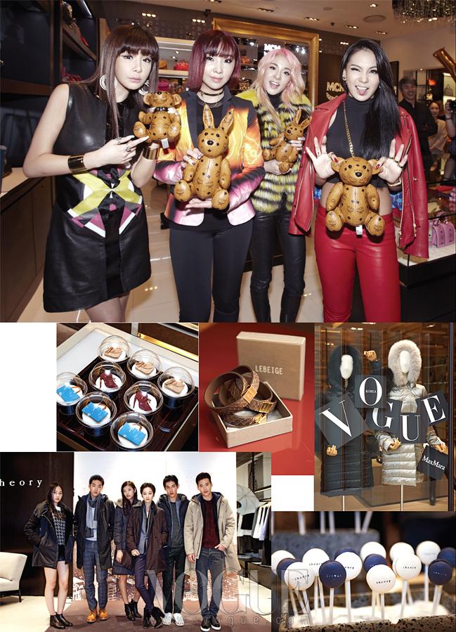 MCM의 깜찍한 인형들과 포즈를 취한 2NE1. 신관에서는 다양한 브랜드에서 각각의 케이터링과 행사를 준비했다. 특히 띠어리의 미니 패션쇼는 쇼핑객들의 시선을 사로잡았다.
