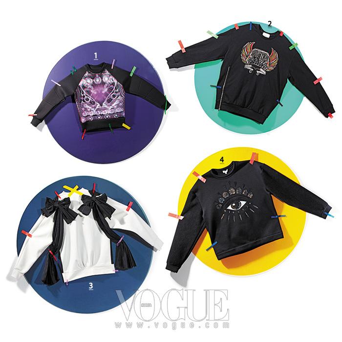 1 오간자 배색 스웨트 셔츠는 준지(Juun.J). 2 자수와 비즈 장식으로 스타일 변형이 가능한 지퍼 달린 스웨트 셔츠는 3.1 필립 림(3.1 Phillip Lim). 3 블랙 리본 장식 스웨트 셔츠는 쟈뎅 드 슈에뜨(Jardin de Chouette). 4 눈동자가 인상적인 스웨트 셔츠는 겐조(Kenzo).