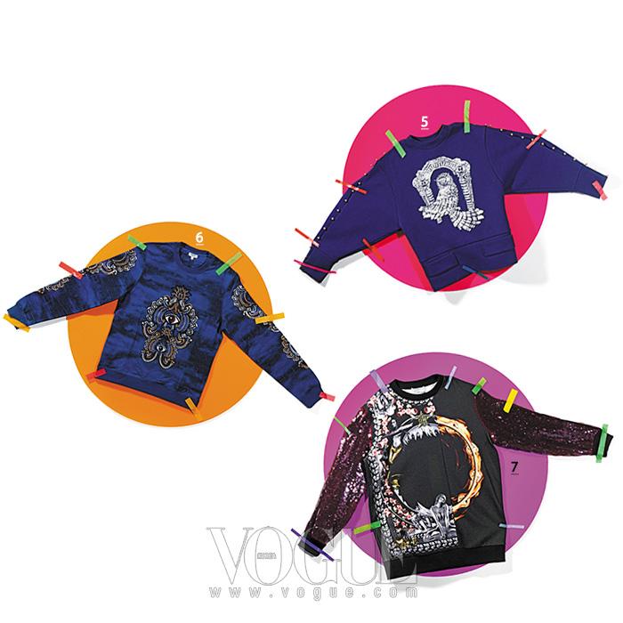 5 부엉이 비즈 스웨트 셔츠는 쟈뎅 드 슈에뜨(Jardin de Chouette). 6 눈동자가 인상적인 스웨트 셔츠는 겐조(Kenzo). 7 스팽글 소매 배색 스웨트 셔츠는 지방시(Givenchy).