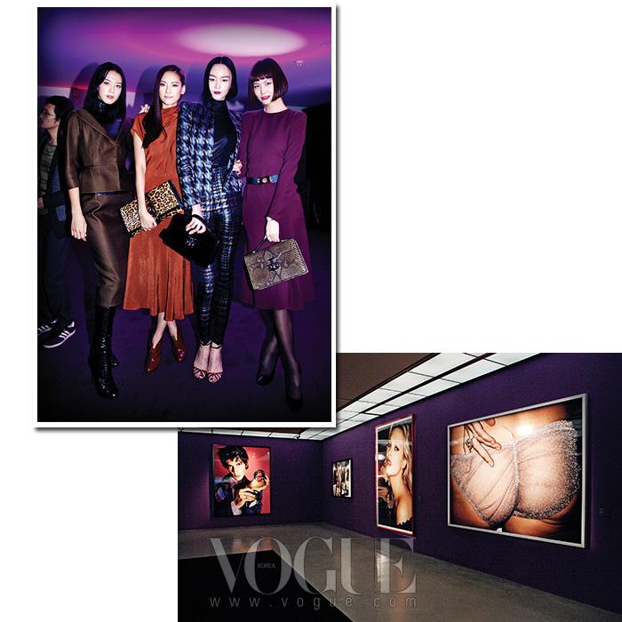 2013 F/W 구찌 컬렉션 의상을 입고 파티에 참석한 모델 이승미, 혜박, 이혜정과 송경아가 포즈를 취했다.