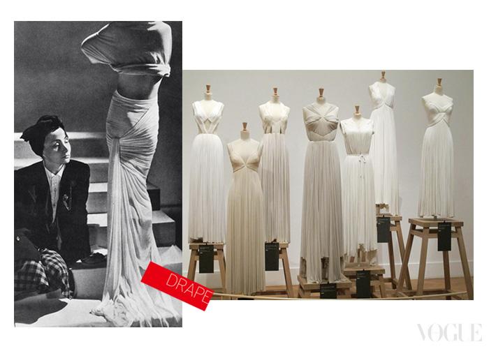 조각가 출신인 마담 그레는 살아 있는 모델의 몸 위에 직접 옷감을 두르고 주름을 잡으면서, 옷의 형태를 만든 것으로 유명하다. 그녀의 촘촘한 드레이핑은 280cm의 천을 단 7cm 폭으로 줄여버릴 정도였다.