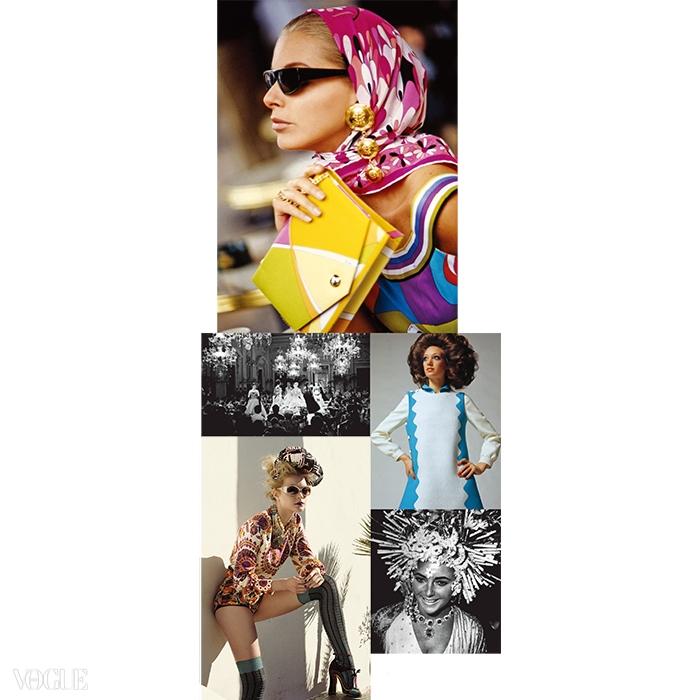 위부터 90년 에 실린 에밀리오 푸치 룩. 55년 지오르지니가 피렌체에서 열었던 패션쇼. 69년 에 등장한 밀라 쇤 룩. 2008년 에서 프라다 룩을 입은 제시카 스탬. 67년 불가리 주얼리를 착용한 엘리자베스 테일러.