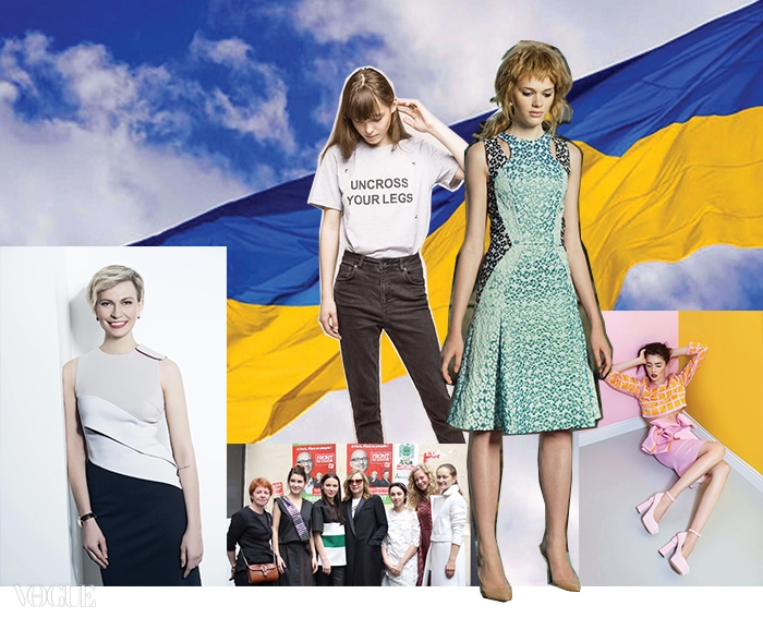 편집장 마샤 츠카노바. 오른쪽 꽃무늬 드레스는 안나 옥토버, 장난스러운 문구의 티셔츠는 안나 K. 핑크색 스커트와 크롭트 톱은 줄리 파스칼 컬렉션. 중앙 아래는 파리 쇼룸에 함께한 미국  사라 무어와 우크라이나 디자이너들.