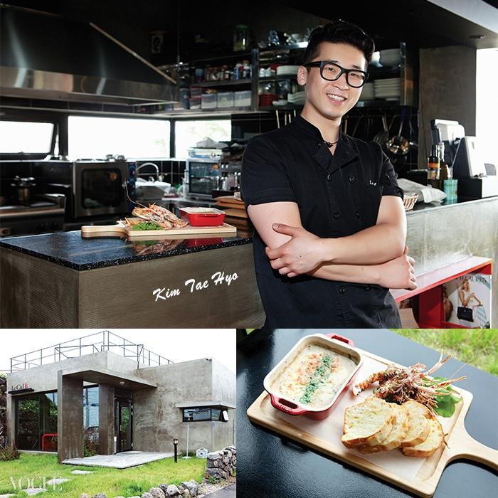 해안 도로변에 자리한 김태효의 레스토랑. 뒷마당에서는 각종 허브도 키우고 있다. 제주도에는 지금 딱새우가 제철이다.