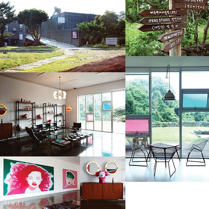 저지리에는 제주현대미술관과 예술인마을이 있다. 펑정지에의 스튜디오에는 고가의 가구와 자신의 작품이 곳곳에 놓여 있다.