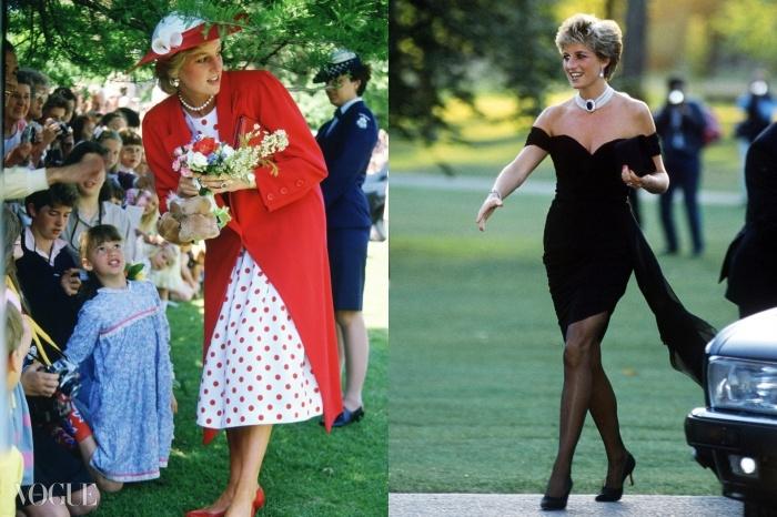 (왼쪽) 1985년 호주 방문 당시 '부끄러움 많은 다이애나'. (오른쪽) 1994년 '자신감 넘치는 이혼녀' 다이애나가 런던의 서펀타인 갤러리(Serpentine Gallery)에서 열린  파티에 참석하고 있다. 그 유명한 검은 '복수의 드레스'는 찰스 황태자가 TV에서 간통을 인정하던 바로 그날 밤 입었던 왕세자비의 극적인 한방이었다.