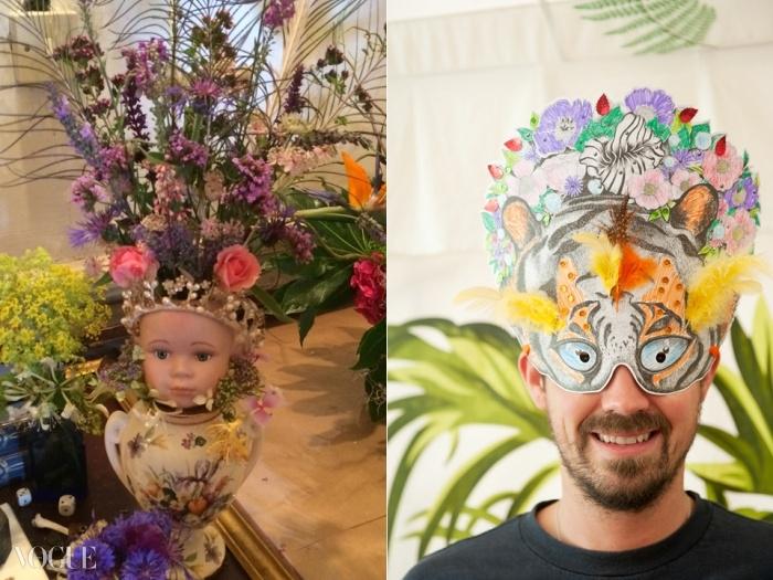 인류학 텐트에서의 가면 만들기, 그리고 꽃 전시. ⓒ Fiona Campbell