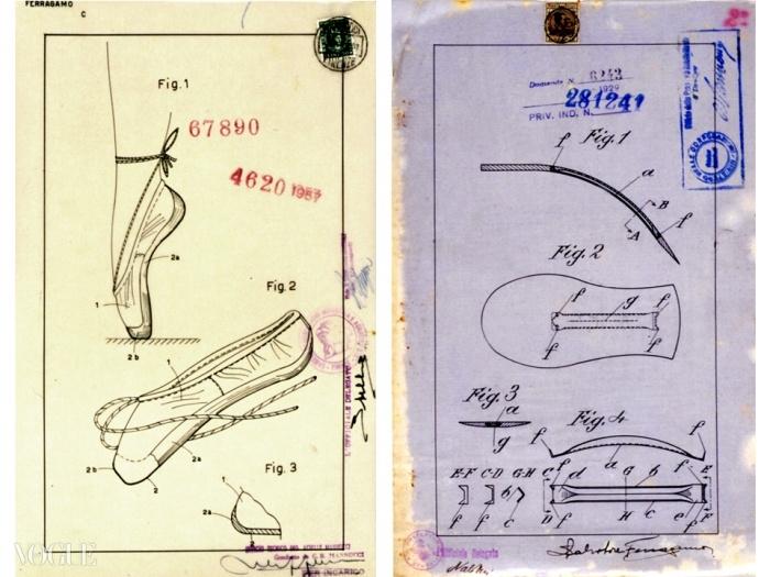 특허 신청서들. 왼쪽은 앞쪽으로 갈수록 점점 좁아지고 발가락 부분이 강화된 밑창을 슈즈 몸통 가장자리에 붙인 토슈즈. 오른쪽은 슈즈 밑창의 아치 강화 시스템. 열심히 연구한 결과 페라가모는 발바닥 아치를 지지해주는 혁명적인 'steel shank'를 발명했다. 덕분에 발이 거꾸로 된 진자처럼 움직일 수 있게 되었다. 1929년에 특허를 받은 이 쉥크는 그의 가장 중요한 발명 중 하나였고 지금도 페라가모 슈즈에 쓰고 있다. 로마 중앙 정부 보관소. © Rome, Central Government Archives