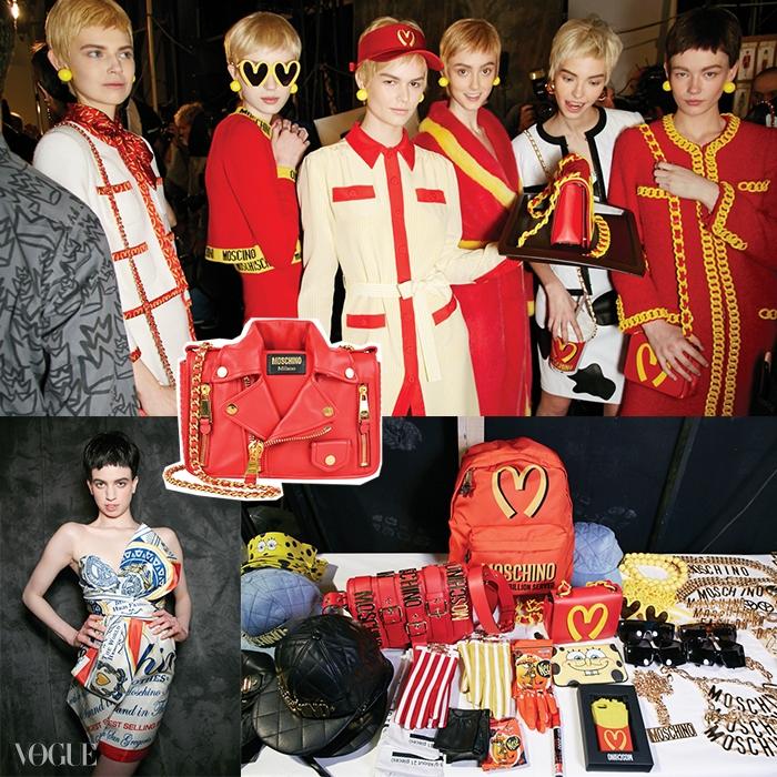 모스키노 2014 가을 쇼 백스테이지에는 맥도날드, 스폰지밥, 스트리트 패션에서 영감을 얻은액세서리들이 준비되어 있었다.