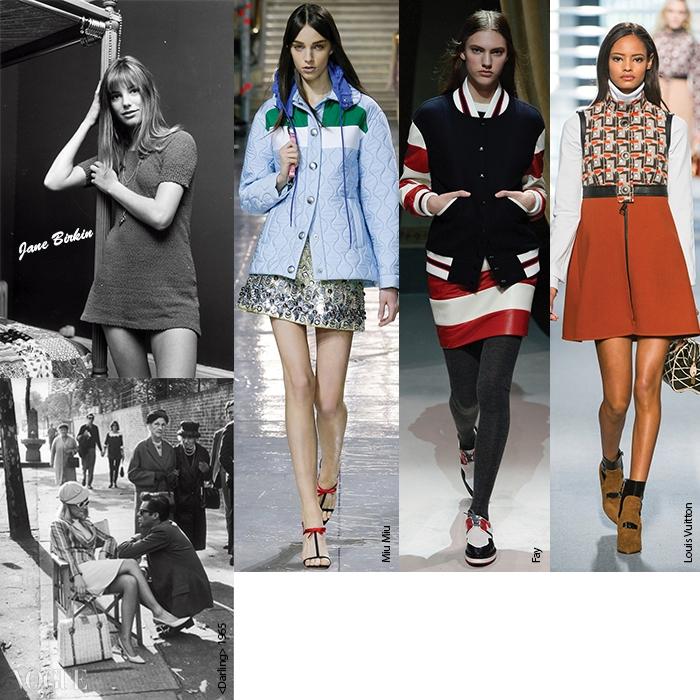 마이클 케인 주연의1966년 <알피>와 2005년에리메이크된 주드 로의 <알피>.<블로우 업>에서 멍청한 모델역을 했던 제인 버킨 등 돌리버드 특유의 어린 여자아이 같은룩에서 영감을 얻은 미우미우,페이, 루이 비통 의상.