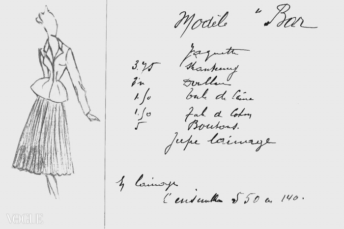 디올의 바 앙상블 스케치, 1947년 오뜨 꾸뛰르 봄여름 컬렉션, 코롤 라인, 화관 라인. ⓒ Christian Dior Couture