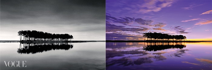 (왼쪽부터)마이클 케나가강원도 솔섬을 찍은 '솔섬1',대한항공이 여행사진 공모전의 수상작을사용해 완성한 TV CF 중 한 장면.