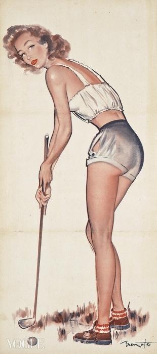 Lot 41. 피에르 로랭 브루노(Pierre-Laurent Brenot) (1913-1998). 골프 핀업(Golfing Pin-Up). 입찰 시작 가격: £500 ⓒ Christie's Images Ltd. 2014
