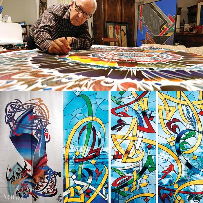 쟈 마다우이는 스테인드글라스, 혹은 금속을 활용해 건축물을 장식하는 작품을 만들기도 하지만, 가장 많은 시간을 보내는 것은 직접 붓을 들고 하는 세밀한 작업이다.