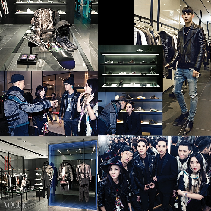다른 분더샵맨 매장과 달리젊은 스트리트 감성으로충만한 아이템과 의류들.산다라 박, 카이 디자이너계한희와 일본에서 활동하는99%is-의 디자이너 박종우,모델 박형섭도 양승호가디렉팅한 분더샵맨 매장을보러 왔다.