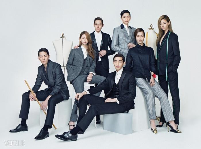 (왼쪽부터 시계 방향으로)서울에 펼쳐진 모던 비스포크 문화. 누빔 처리된 숄 칼라 재킷과 팬츠는 제이백 꾸뛰르. 아웃 포켓이 달린 재킷과팬츠는 모노 갤러리, 셔츠는 델디오. 날렵한 가죽 라펠의 재킷과 팬츠, 셔츠는 바톤. 회색 핀스트라이프 더블 브레스트 수트와 화이트셔츠는 오디너리 피플. 옷감 표기를 그대로 활용한 블랙 수트는 뮌. 블랙 턱시도 셔츠는 델디오, 회색 스트라이프 팬츠는 오디너리 피플,구두는 모스키노. 매끈하게 재단된 블랙 재킷과 조끼, 팬츠, 그리고 화이트 셔츠는 이정기 서울.
