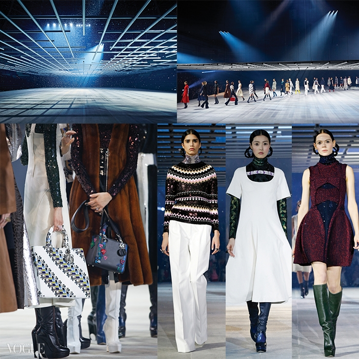 도쿄의 스모 경기장인 국기관에서 펼쳐진 디올 프리폴 컬렉션장의 전경. 철골 구조물아래로 가짜 눈이 내리고, 모델들은 미래에서 온 여성들처럼 무대를 거닐었다.