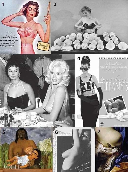 1 1950년대 토피도 브라 광고.2 브라 속을 채워 가슴 볼륨을키워준 '폴시즈'는 수백만 달러산업으로 발전했다.3 풍만한 가슴으로 유명했던여배우 소피아 로렌(왼쪽)이제인 맨스필드(오른쪽)의 가슴을힐끗거린다. 4 유축기 광고.5 프리다 칼로의 자화상.6 미국 최초로 상반신을 드러낸고고 댄서 캐럴 도다.실리콘 주입 수술을 44회나받았다. 7 앙투앙 리발츠의'클레오파트라의 죽음'.