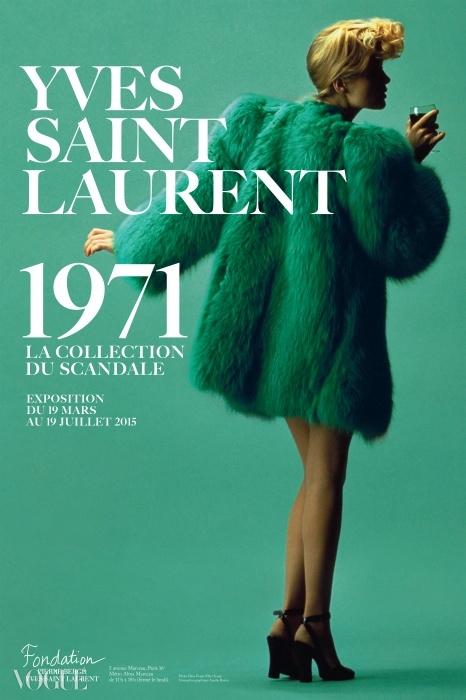 슈퍼모델 윌리 반 루이(Willy Van Rooy)가 YSL의 초록색 여우코트를 입고 있는 1971 S/S 꾸뛰르 컬렉션 전시 포스터.Hans Feurer / Elle / Scoop ⓒ Fondation Pierre Bergé - Yves Saint Laurent