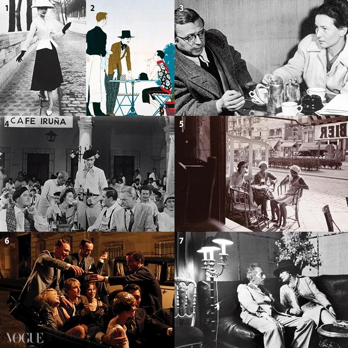 1 무슈 디올의 바 재킷. 2 멋지게차려입은 카페의 커플을 그린 포스터, 3 카페의장 폴 사르트르와 시몬느 드 보부아, 4 영화<태양은 다시 떠오른다>의 1950년대 카페풍경, 5 1930년대 프랑스 노천 카페의 여인들, 6영화 <미드나잇 인 파리>의 한 장면, 7 카페에서이야기를 나누는 장 콕토와 코코 샤넬.