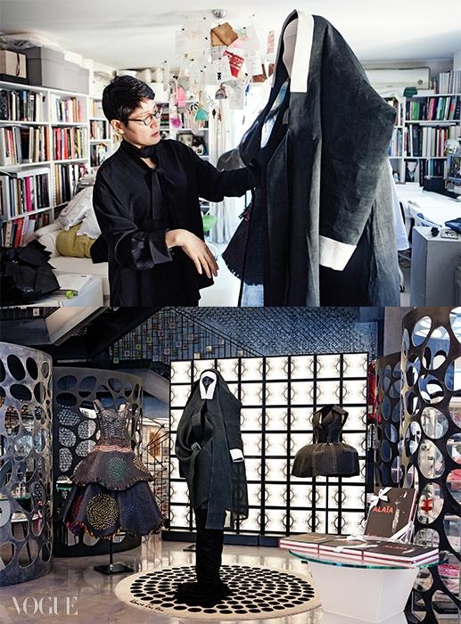 이번 전시를 기념해스타일리스트 서영희는새로운 알라이아오마주 룩을 준비했다.2003년 작 알라이아저지 드레스와전통 장옷의 만남!