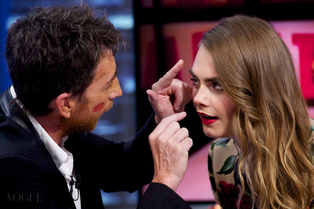 MADRID, SPAIN - JULY 08:  Pablo Motos (L) and Cara Delevingne  attend 'El Hormiguero' Tv show at Vertice Studio on July 8, 2015 in Madrid, Spain.  (Photo by Juan Naharro Gimenez/Getty Images)