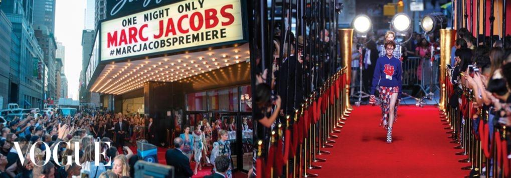 Marc Jacobs 지그펠드 쇼장 밖 레드 카펫을 런웨이로 사용해 행인들도 쇼를 볼 수 있도록 한 마크 제이콥스 쇼.