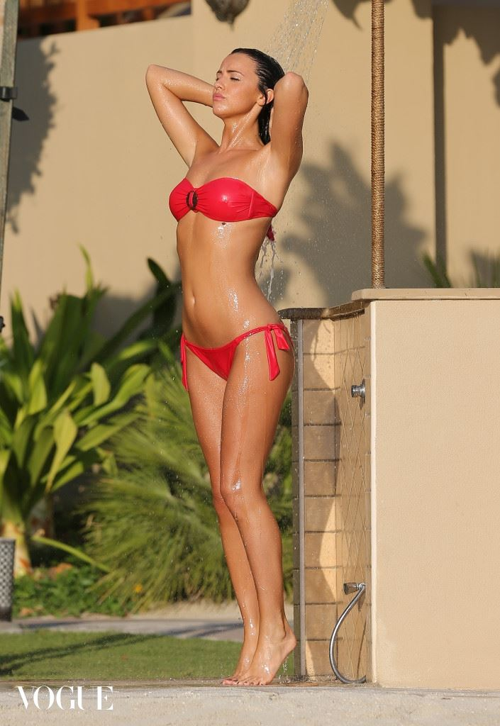 EXCLUSIVE: TOWIE starlet Lucy Mecklenburgh shows off her incredible bikini body in a red two piece whilst enjoying a winter sun soaked break