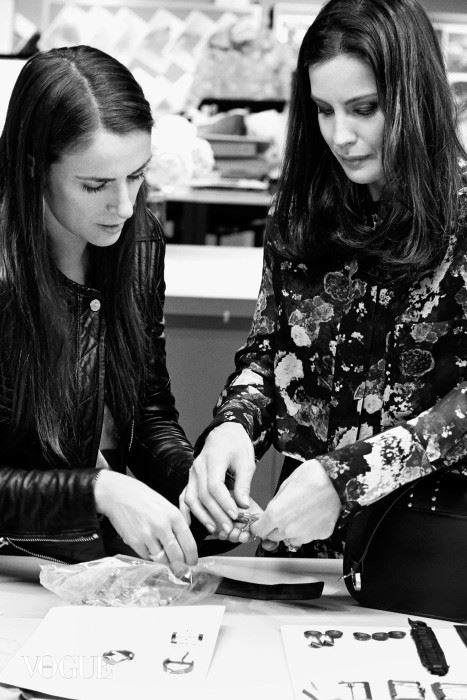 Actress Liv Tyler working on her capsule collection with Belstaff's vice president of women's design, Delphine Ninous