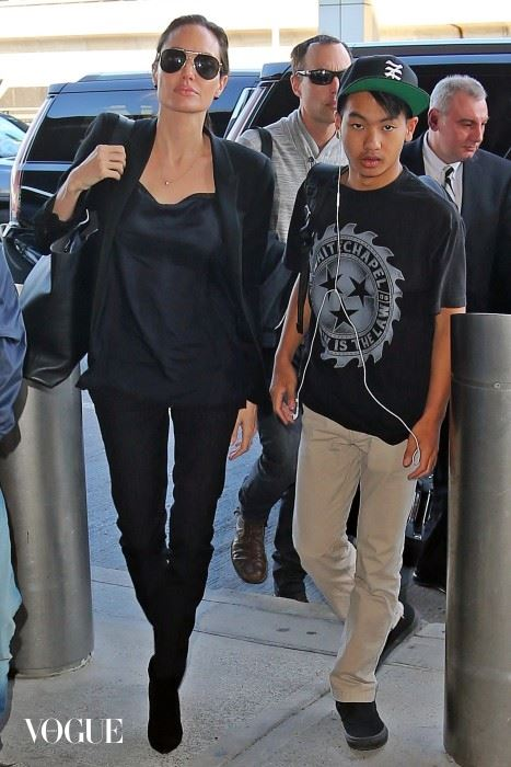 Angelina Jolie and son Maddox catching a flight out of JFK airport together in New York City.