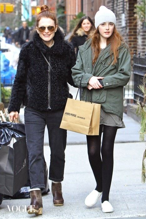 EXCLUSIVE: Julianne Moore spotted shopping with lookalike daughter Liv in NYC. May 6th 2015