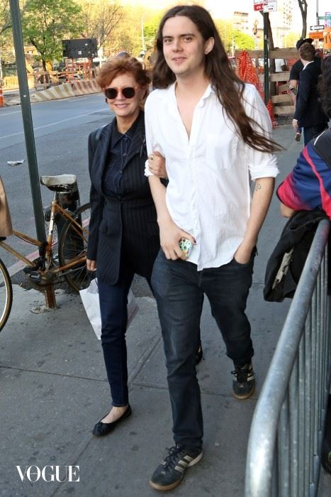 Susan Sarandon and her son Miles Robbins seen in NYC