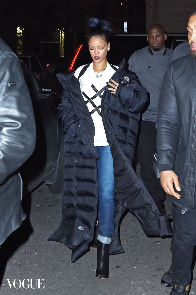 """EXCLUSIVE: Rihanna wears bizzare shoes and floor length North Face jacket as she goes to the """"Haus"""" club in Tribeca, NYC"""