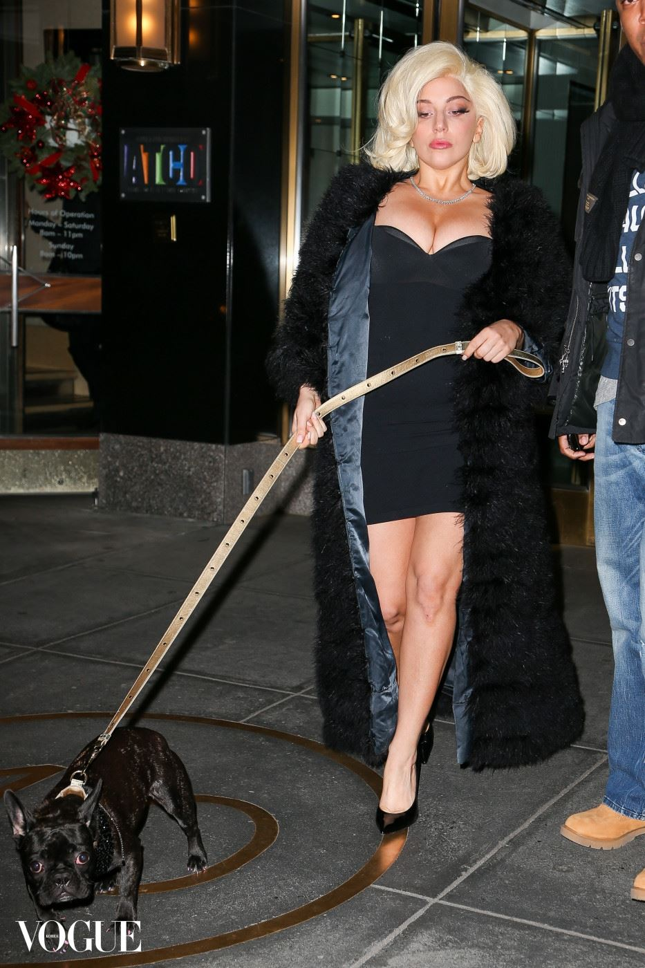 Lady Gaga heads out for dinner with her dog Asia in New York City. Pictured: Lady Gaga Ref: SPL915276  191214   Picture by: Santi/Splash News Splash News and Pictures Los Angeles:310-821-2666 New York:212-619-2666 London:870-934-2666 photodesk@splashnews.com