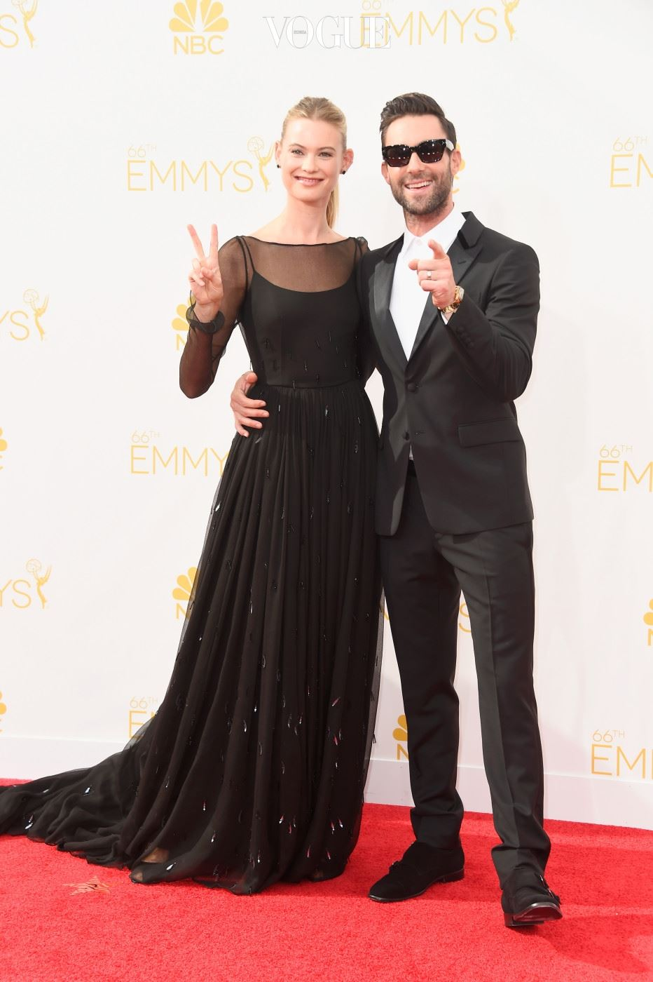 LOS ANGELES, CA - AUGUST 25:  Model Behati Prinsloo (L) and singer Adam Levine attend the 66th Annual Primetime Emmy Awards held at Nokia Theatre L.A. Live on August 25, 2014 in Los Angeles, California.  (Photo by Frazer Harrison/Getty Images)