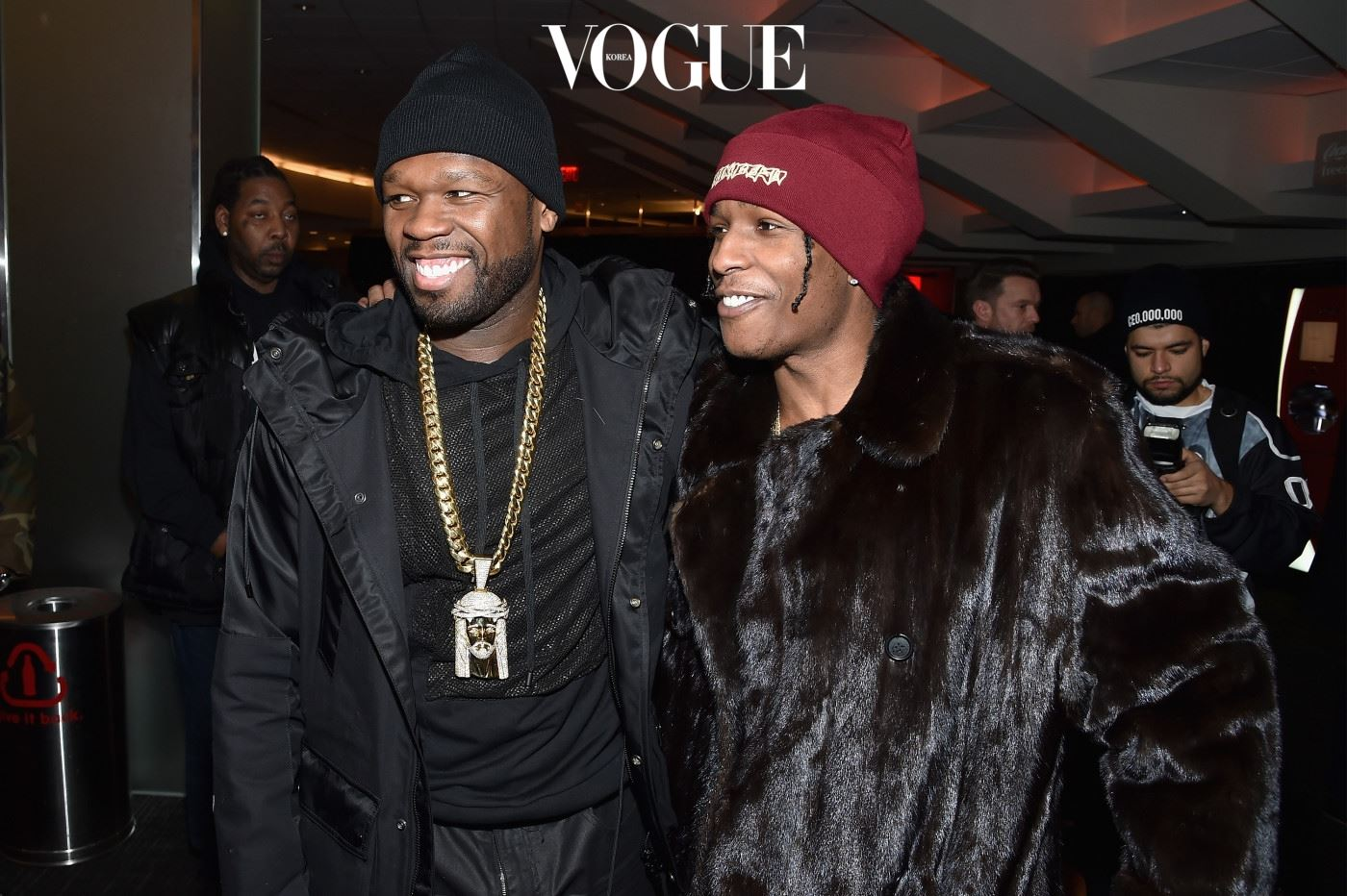 NEW YORK, NY - FEBRUARY 11:  Rappers 50 Cent (L) and ASAP Rocky attend Kanye West Yeezy Season 3 on February 11, 2016 in New York City.  (Photo by Dimitrios Kambouris/Getty Images for Yeezy Season 3)