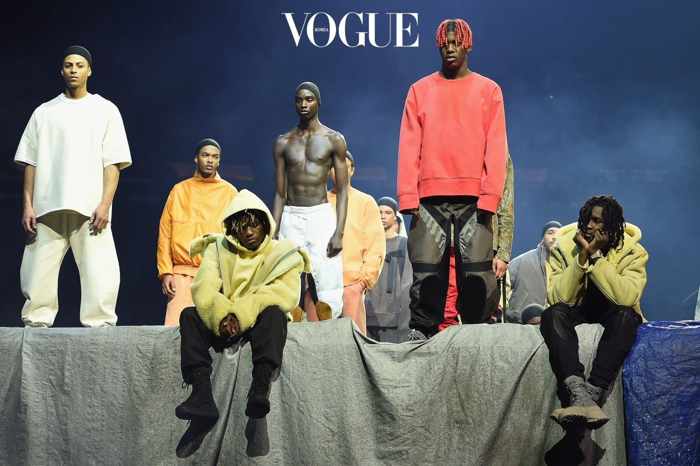 NEW YORK, NY - FEBRUARY 11:  Models pose during Kanye West Yeezy Season 3 on February 11, 2016 in New York City.  (Photo by Dimitrios Kambouris/Getty Images for Yeezy Season 3)