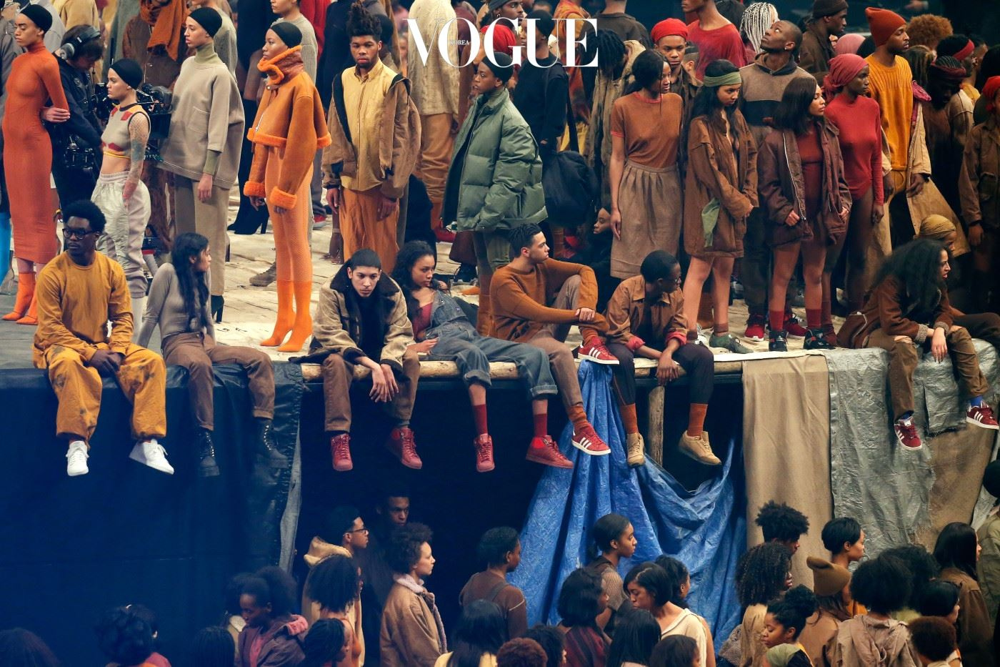 NEW YORK, NY - FEBRUARY 11:  Models pose during Kanye West Yeezy Season 3 on February 11, 2016 in New York City.  (Photo by JP Yim/Getty Images for Yeezy Season 3)