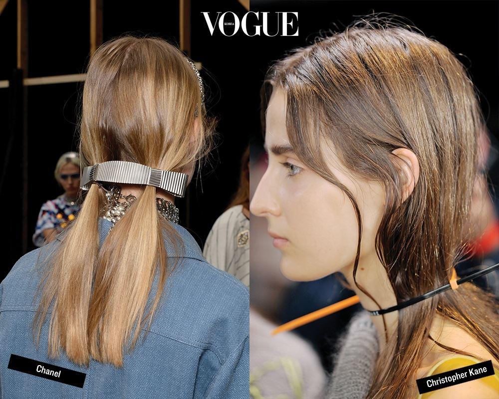 샤넬을 위해 양 갈래로 묶은 머리를 하나의 긴 핀으로 집어 놓은 듯한 샘 맥나이트의 연출은 정말 '굿'이었다. 패션 액세서리 활용도 아이디어다. 크리스토퍼 케인의 히트작 '케이블 초커'를 헤어 초커로 활용한 귀도처럼 쁘띠 스카프로 목과 머리카 락을 한 번에 묶거나 메탈 반지를 포니테일 시작점에 겹쳐 끼우면 된다.