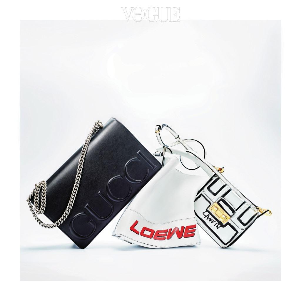 Spy, logo bags, studio shot, selection, embossed, stamped, scribble