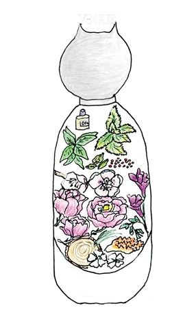"""유리병 안에 담긴 향료는 복숭아꽃, 화이트 머스크, 앰버, 모로코산 장미다. 깜찍한 향수병은 크리에이티브 디렉터 파비앙 바론의 솜씨다. """"눈치챘나요? 병뚜껑은 고양이 얼굴이랍니다. 제가 그린 스케치를 바탕으로 제작했죠."""""""