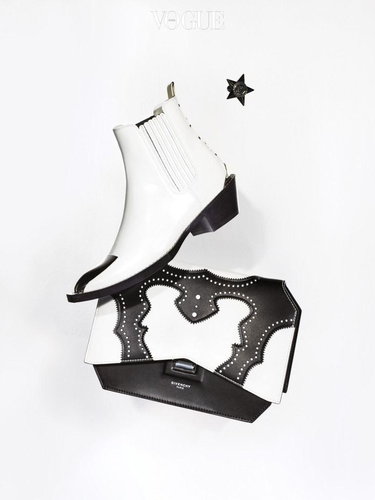 흰색 웨스턴 부츠는 루이 비통(Louis Vuitton), 별 모양 반지는 베르사체(Versace), 직사각형 가죽 숄더백은 지방시(Givenchy by Riccardo Tisci).