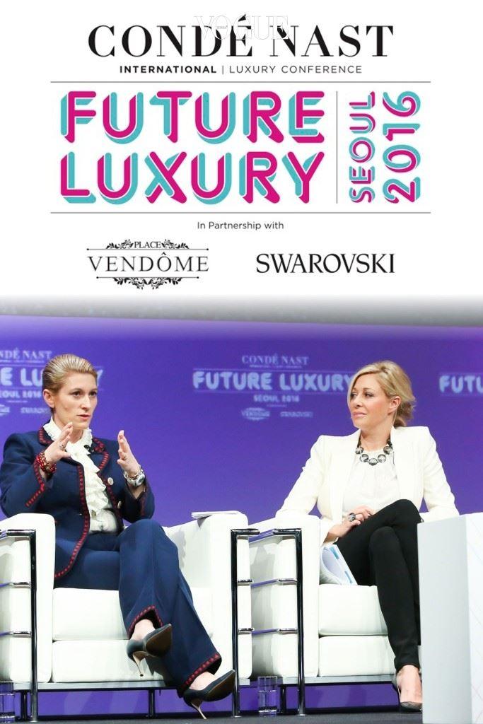 나디아스와로브스키와 마리 끌레르데뷰가 성공적인 지속가능성을 위한 열쇠에 대해 논의하고 있다.