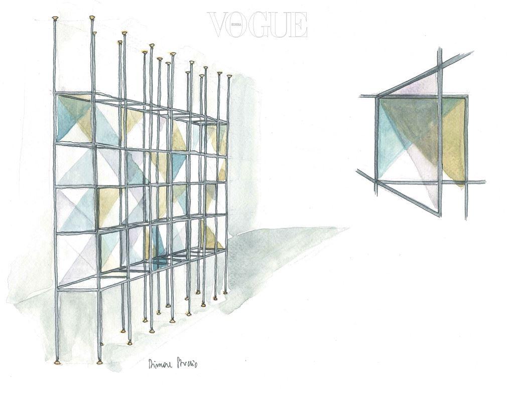 """응접실과 다이닝 공간을 나누는 디모레 스튜디오의 컬러풀한 유리 책장을 비롯해 이 아파트는 갤러리에서나 볼 법한 가구와 소품으로 가득하다. 스웨덴 가구 디자이너인 브루 노 맛손(Bruno Mathsson)의 라운지 체어, 무라노 글라스를 사용한 베니니(Venini)의 샹들리에, 이태리 건축가 마르코 차누소(Marco Zanuso)의 곡선이 돋보이는 암체어, 역시 이태리 건축가 겸 디자이너였던 이냐치오 가르델라(Ignazio Gardella)의 조형적 램프 등등. """"모든 게 간결하지만 디자인을 완성하는 중요한 요소인 건 분명합니다. 작품 은 이 공간을 방문하는 안목 있는 이들의 시선을 끌 겁니다."""" 18세기부터 19세기에 활 동했던 제노바 출신의 가구 디자이너 주세페 가에타노 데스칼치(Giuseppe Gaetano Descalzi)의 다이닝 체어만큼 꼭 빼놓을 수 없는 작품은? """"탈의실에 자리한 밍크로 완 성한 소파입니다. 이보다 더 럭셔리한 건 없죠. 형태와 소재는 매우 여성스럽고, 동시에 매우 펜디적입니다."""""""