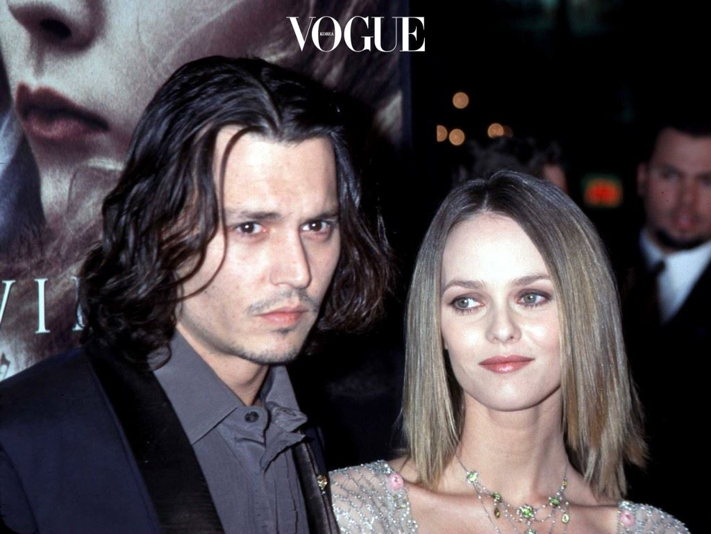 """11/17/99 Hollywood, CA. Johnny Depp with his girlfriend Vanessa Paradis at the Los Angeles premiere of his new movie """"Sleepy Hollow."""" Photo by Brenda Chase Online USA, Inc."""
