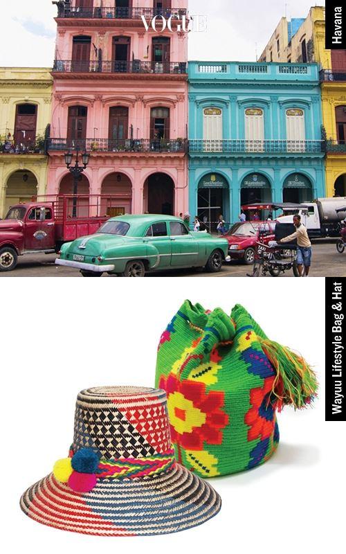 LEE JI AH/ Fashion Director Havana  얼마 전 샤넬 크루즈 쇼로 세간의 이목을 집중시킨 쿠바의 아바나. 체 게바라와 헤밍웨이로 대표되고 카리브 해의 햇살과 알록달록하게 칠한 건물은 보는 것만으로도 온몸에 전율이 인다. Wayuu Lifestyle Bag & Hat 콜롬비아와 베네수엘라 사이의 와유 마을 사람들이 전통 방식의 수공 기술로 만든 와유 라이프스타일의 가방과 모자. 이 알록달록한 가방과 모자가 곁에 있다면, 마음은 이미 저 멀리 쿠바로 향한다.
