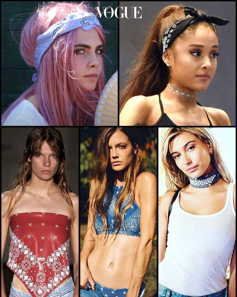 (왼쪽부터 시계방향으로)Cara Delevingne, Ariana Grande,  Hailey Baldwin, DAZE DAYZ Swimwear, MM6