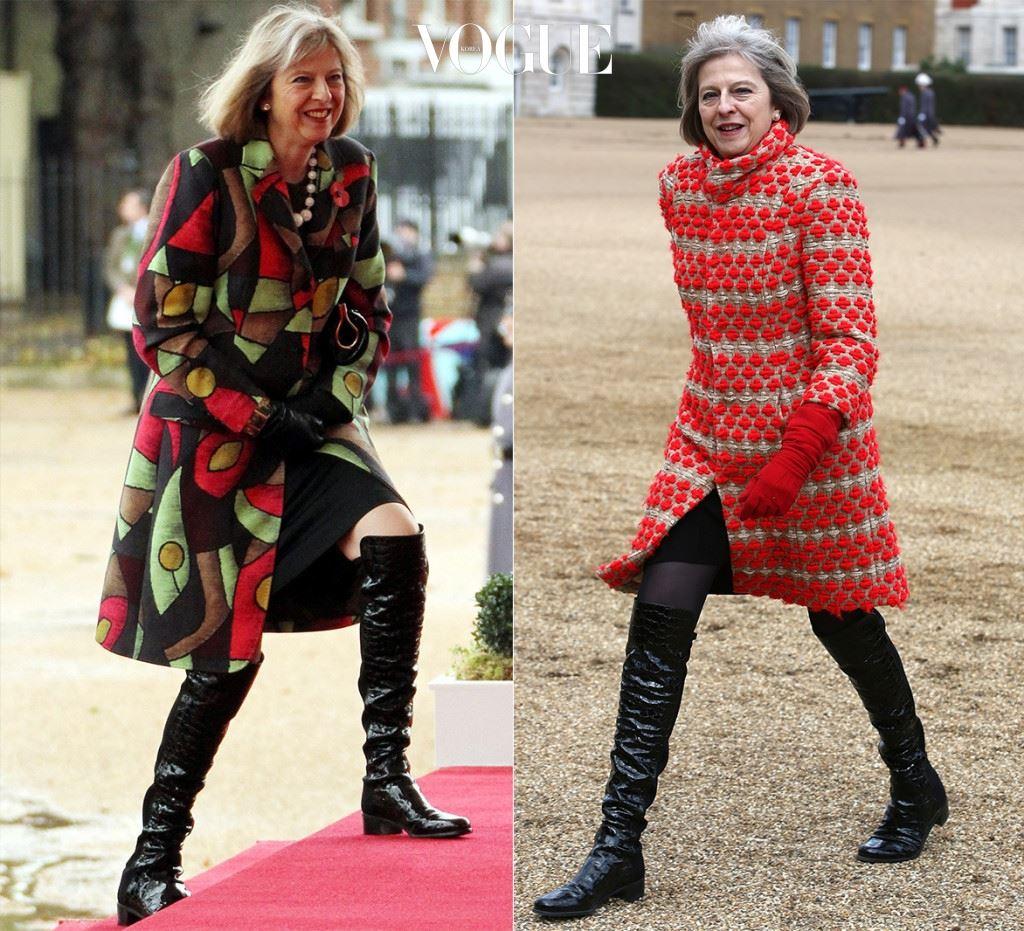 엘리자베스 2세 여왕을 만나는 자리에서 포착되었던 무릎까지 올라오는 오버-니 부츠(Over-Knee Boots) 차림.