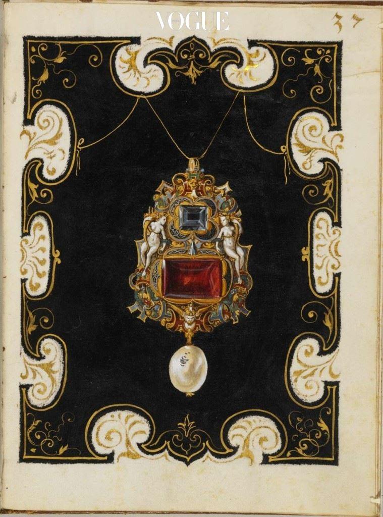 (Anna)의 보석 서적, 1552-1555. 이 특별한 책의 내용은 바바리아의 알브레히트 공작 5세와 그의 부인 안나가 소유했던 보석들로 구성 되었으며, 독일 궁정 화가 한스 뮐리히가 그린 110개의 아름다운 드로잉이 함께 담겨있다.
