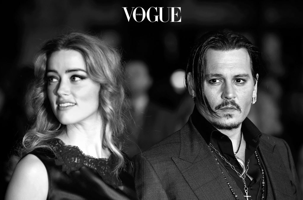 """LONDON, ENGLAND - OCTOBER 11:  (EDITOR'S NOTE: This image has been converted to black and white) Amber Heard and Johnny Depp attend the """"Black Mass"""" Virgin Atlantic Gala screening during the BFI London Film Festival, at Odeon Leicester Square on October 11, 2015 in London, England.  (Photo by John Phillips/Getty Images for BFI)"""
